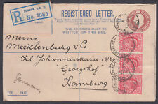 1910 KEVII uprated Registered Envelope,Gracechurch St BO/EC CDS: Hamburg,Germany