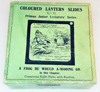 A Frog He Would A-Wooing Go - Boxed Set of 8 Antique Magic Lantern Slides c1900