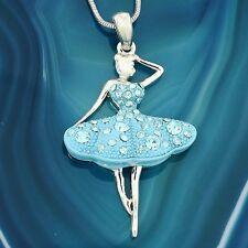 """Ballerina W Swarovski Crystal Blue Charm Pendant Necklace 18"""" Chain Jewelry"""