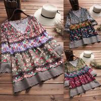 Vintage Women Floral Print Patchwork Long Sleeves V-neck Blouses Top Shirt