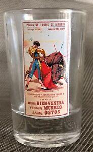 PLAZA DE TOROS DE MADRID ESPADAS ANTONIO BIENVENIDA, FERMIN MURILLO, SHOT GLASS