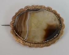 Georgian Gold Cased and Banded Agate Brooch t0822