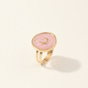 Women Fashion Simple Gold Oil Drop Pink Moon Round Ring Adjustable Jewelry