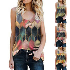 Women Round Neck Sleeveless Geometric Pattern Print Tank Casual Loose Vest Tops