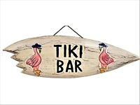 "22"" x 7"" HANDCARVED & Painted Tiki BAR with FLAMINGO'S Surfboard Wall Decor!"