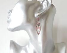 Gorgeous 5cm long hematite & pink diamante & bead oval shape drop earrings