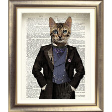 DICTIONARY WALL ART PRINT ANTIQUE BOOK PAGE CAT vintage KITTEN Dressed Animal
