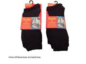 6 Pairs Plain Colour Black  ankle socks Everyday Socks