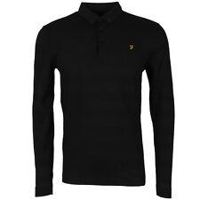 Farah Polo Shirt Stapleton Mens Black Long Sleeve Top XL