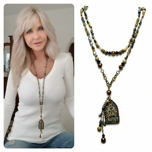 Buddha Wrap Kinley Necklace in Pearls, Bronze, Swarovski Crystals and Goldstone