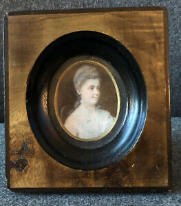 ANTIQUE Miniature Portrait Painting of a lady in a Wood Wooden Frame