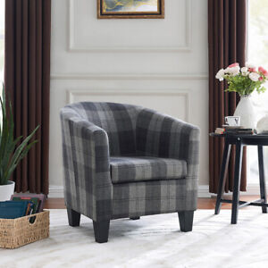 Modern Tartan Fabric Tub Chair Beige or Grey Armchair Occasional Accent Chair