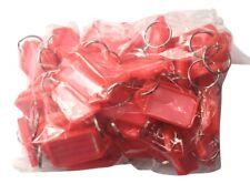 50x Key Tags RED. Bulk  colour ID keytag key ring labels organiser Plastic