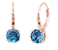 Rose Gold Plated Sterling Silver Natural Round Blue Topaz Leverback Earrings