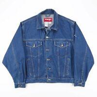 Vintage WRANGLER Indigo Blue Casual Trucker Denim Jacket Mens Size Medium