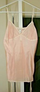 Abercrombie Pale Shell Pink 100% Silk Camisole w/ Pink & Ivory Trim, Size L, GUC