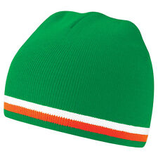 Bonnet sport marque Beechfield nation Football VERT BLANC ORANGE team equipe