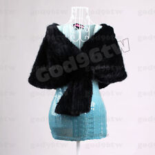 100% Real Genuine Knit Mink Fur Scarf Cape Stole Shawl Coat Wrap Fashion Evening