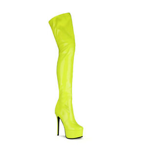 Womens 15cm High Heel Platform Shoes Zip Patent Leather Thigh Boots US Size 5~12