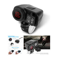 Dual USB Motorcycle Charger With Digital Voltmeter Thermometer LED Display Red