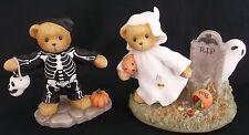 Cherished Teddies dos Halloween fantasma esqueleto Figuras Calabazas