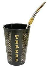 TERERE YERBA MATE TEA SET (CUP + DRINKING STRAW) TAUMER (BRASIL) - BLACK