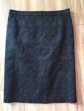 W-LANE Sz 10 Black Textured Pencil Skirt Lined Slit & Zip At Back