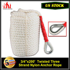 """3/4""""x200' Twisted Three Strand ANCHOR ROPE DOCK LINE 100% Nylon with Thimble US"""