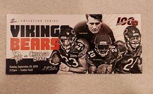 Minnesota Vikings vs Chicago Bears  Game Day Ticket Stub 9/29/19 MACK BEARS 100