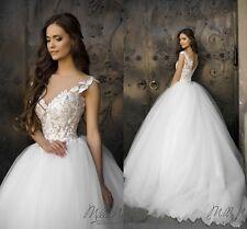 New White Organza Wedding Dress Lace Princess Girls Dress Bride Ball Gown Custom
