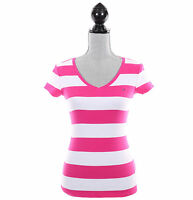 Tommy Hilfiger Women Classic Fit Short Sleeve V-Neck Stripe Tee - Free $0 Ship