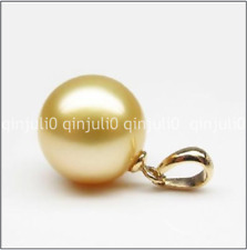 Perfect Round 16mm South Sea natural golden Shell Pearl Pendant Necklace 14K