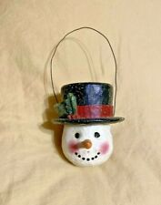 P. Schiffler Small Snowman Candy Container Black Top Hat Large Carrot Nose
