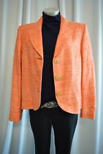 TUZZI Strick Boucle Tweed Jacke Blazer 42 100% Seide Orange TOP *B542