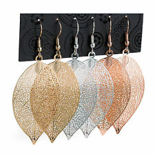 3 Pairs Leaf Design Drop Fashion Earrings Gold, Silver & Rose Gold Colour 4.5cm