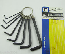 2 sets Keyring of 16pcs Black Metal Imperial L Type Hex Wrench Spanner Tool Set