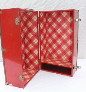 "Vintage Red Metal Doll Trunk / Case - Doll Storage - 16""x9""x9"" - TLC"