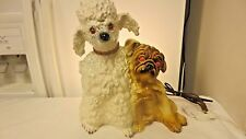 Vintage Kron Poodle & Pug Dogs TV Lamp-Works-Glass Eyes Glow Red When Lit