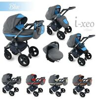 Baby Pram I-XEO Pushchair Car Seat Leatherette +Natural LINEN Travel system 4in1