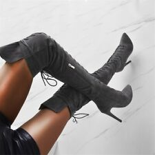 Women Stiletto Pointed Toe Over Knee High Boots Lace Up High Heel Clubwear Shoes