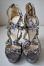 JIMMY CHOO ZAFIRA ANTHRACITE HEELS 38.5 UK 5.5