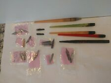 Vintage Lot of 19 Ink Calligraphy Pen Nib Points (2 gold) 2 reservoirs 4 holders