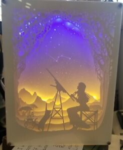 Silhouette Lighted Shadow Box W Paper Cut-out Stargazing Lady w cat USB Power