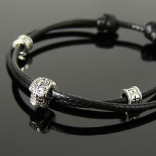 Men's Braided Bracelet 925 Sterling Silver Skull Bead Cross Spacers 1169M