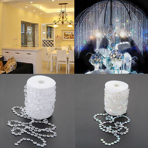 99FT/30m Acrylic Crystal Bead Garland Diamond Strand Curtain Christmas Decor