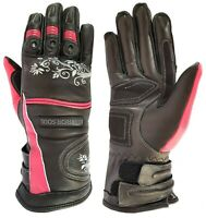 NEW Ladies Motorcycle Motorbike CE Armour Genuine Cowhide Leather Graphic Gloves