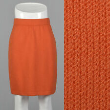 XS 2010s Bright Orange Pencil Skirt Knit Stretch Elastic Waistband Knee Length