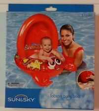 New! Sun & Sky Inflatable Lobster Baby Boat Tube Pool Float Red