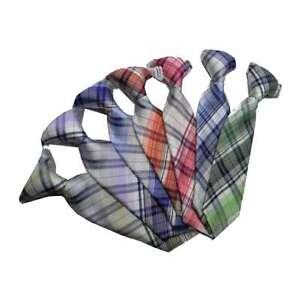 Cravatta da bambino a quadri con elastico bimbo battesimo fino 3 anni pura seta