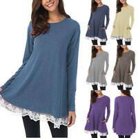 Women Ladies Long Sleeve Solid Tunic Casual Loose Lace Tops Blouse Shirt T-Shirt